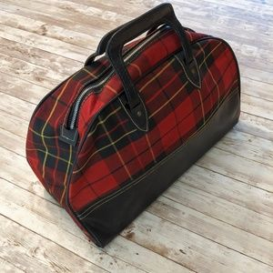 Vintage Plaid Overnight Bag Oversized Purse Tote